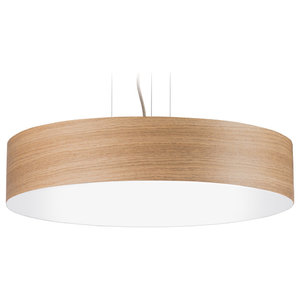 Veneli Slim Pendant Light, Natural Oak Veneer, Large