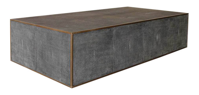 Broadmoor Faux Shagreen Cocktail Table Transitional Coffee