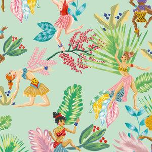 """""""Calypso Dancers"""" Wallpaper, Green"""