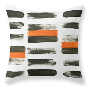 "Orange Stripes Throw Pillow Cover, 20""x20"" With Pillow Insert"