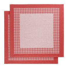 Pied De Poule 2-Piece Tea Towel Set, Red