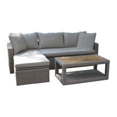 Bondi 3-Piece Teak and Wicker Sofa and Coffee Table Set