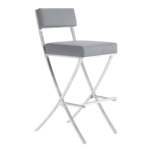 Awe Inspiring Vega Contemporary 30 Bar Height Barstool Brushed Stainless Unemploymentrelief Wooden Chair Designs For Living Room Unemploymentrelieforg