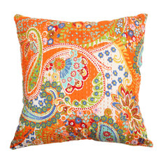 "Rugsville Floral Paisley Ethnic Kantha Boho Orange Pillow Cover  16""x16"""