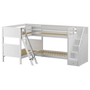 Chelsea Twin Twin L Shaped Storage Loft Bed With Stairs Transitional Bunk Beds By Totally Kids Fun Furniture Toys Houzz