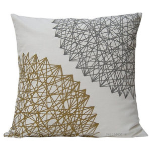 Grey and Gold Geometric Cushion, 40x40 cm