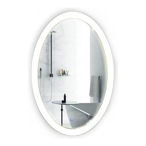 "Oval LED Lighted Wall Mount Bathroom Mirror, Fog Free and Dimmable, 20""x30"""