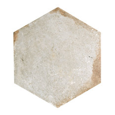 "11""x12.63"" Anticato Hex Porcelain Floor and Wall Tile, Set of 15, Bianco"