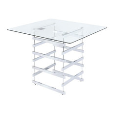 ACME Nadie Pub Table In Clear Glass And Chrome
