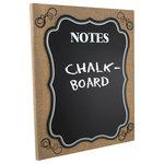Burlap Framed Wall Mounted Chalkboard Memo Board