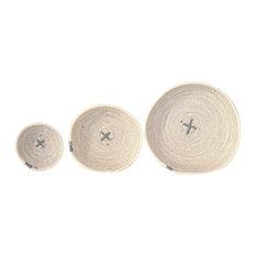 Cotton Rope Bowls, Light Grey, Set of 3