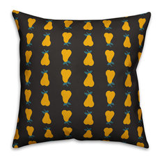 """Pear Pattern, Yellow Outdoor Throw Pillow, 16""""x16"""""""