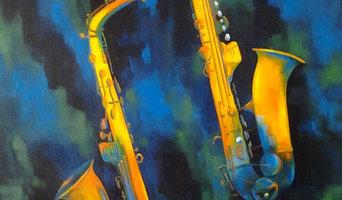 Stellar Saxophones, 30x30, gallery wrap canvas