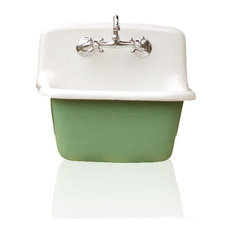 Re   Deep Utility Sink Antique Inspired Cast Iron Porcelain Farm Sink  Package Arsenic   Utility