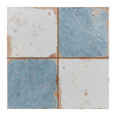 "13""x13"" Artesano Ceramic Floor/Wall Tiles, Set of 10, White and Sky Blue"