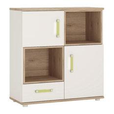 2-Door 1-Drawer Cupboard With 2 Open Shelves With Lemon Handles