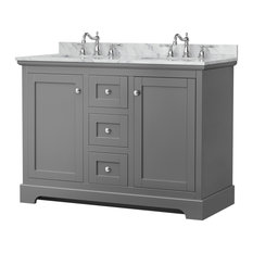 Avery 48-inch Double Bathroom Vanity In Dark Gray Carrera Marble Top Oval Sinks