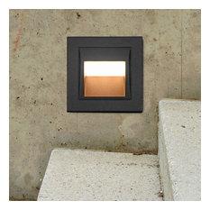 """3.5"""" Modern Low-Voltage 2-Watt Integrated LED Outdoor Steps Light, Matt Black"""