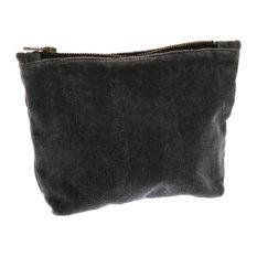 "Retro Soft Charcoal Gray Velvet Zipper Pouch | 6"" x 9"" Bag Holder Tote Jewelry"
