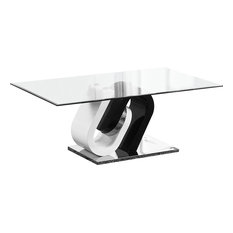 All in One Furniture - Modern White and Cappuccino Glass Top Coffee Table - Dining Tables