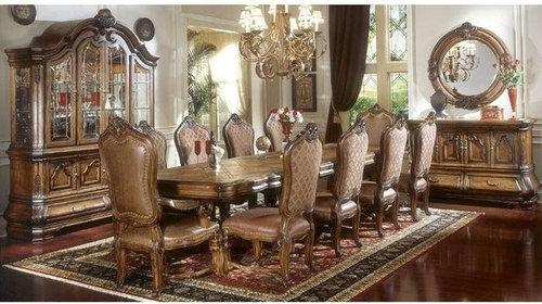 AICO Furniture   Tuscano 9 Piece Trestle Dining Table Set In Biscotti    34001 R