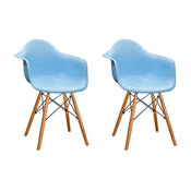 Mod Made Paris Tower Modern Arm Chair with Wood Legs, Set of 2, Blue