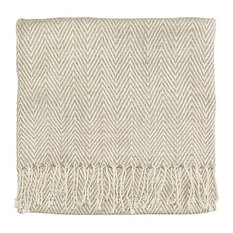Staccato Silk Hand Woven Throw Blanket, Driftwood