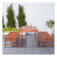 Malibu Eco-Friendly 3-Piece Wood Outdoor Dining Set With Backless Benches