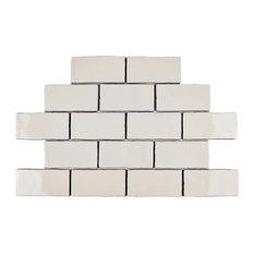 "3""x6"" Artic Craquelle Ceramic Wall Tiles, Set of 32, White"