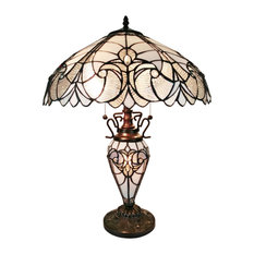"""Amora Lighting Tiffany Style Floral White Double Lit Table Lamp 23"""""""