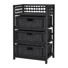 Costway 3 Drawer Storage Unit Tower Shelf Wicker Baskets Storage Chest Rack