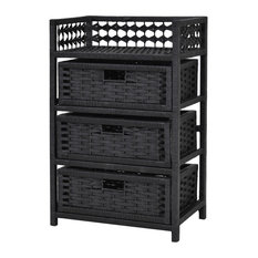 Costway 3 Drawer Storage Unit Tower Shelf Wicker Baskets Storage Chest Rack