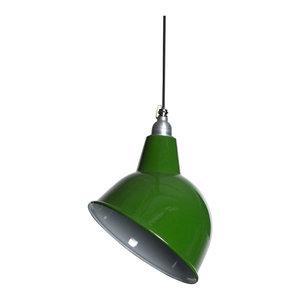Oulton Enamel Pendant Light, Green, Black and White Cable, Without Cage