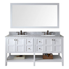"Winterfell 72"" Double Bathroom Vanity Set, White With Mirror"
