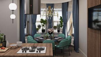 Дизайн кухни-столовой с островом и обеденной зоной в эркере в п. Перевалово