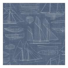 Nautical Blueprint Wallpaper, Marine