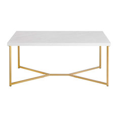 Rectangle Coffee Table with White Faux-Marble Top and Gold Base