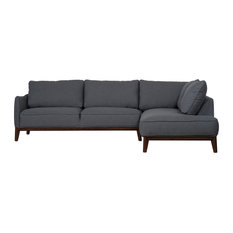 Mason And Pearl Kendall Modern Sectional Sofa Dark Grey Right Hand Facing