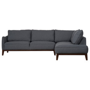 Kendall Modern Sectional Sofa, Dark Grey, Right-Hand Facing