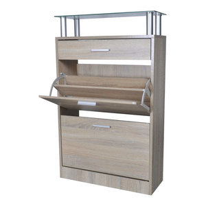 Modern Shoe Cabinet, Oak Finished Wood With Drawer and Top Glass Shelf