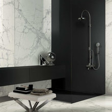 Bathroom: wall covering with large porcelain tiles