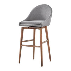 "Keeler Walnut Danish Modern Swivel Stool, Set of 2, Grey, 30"" Bar"