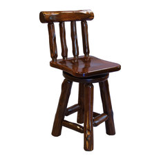 Rustic Stained Red Cedar Log Swivel Bar Stool With Back Bar Height