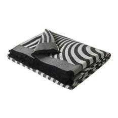 Alpaca Waves Woven Throw, 150x180cm, Black and White