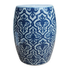 Blue and White Porcelain Garden Stool Contemporary Floral Motif 18""