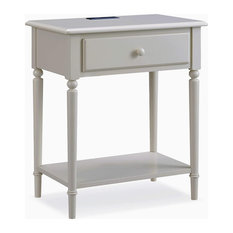 Coastal Nightstand Grey Finished Plywood With Drawer Narrow Design