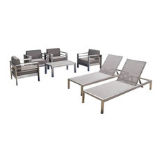 GDFStudio - 7-Piece Coral Bay Outdoor Club Chair Set, 2 Chaise Lounges and Table Set - Outdoor Lounge Sets