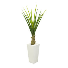 5 Ft. Agave Artificial Plant in White Planter