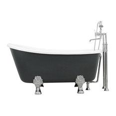 Cosimo White Acrylic Swedish Slipper Clawfoot Tub Package, Iron Grey Exterior, 5