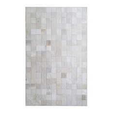 Patchwork Rug Hair On Cowhide Area Rug 4'x6' Mosaic Design Off White